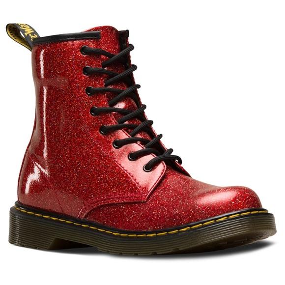 Dr Martens 46 Red Glitter Boots | Poshmark